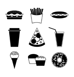 Fast food and drink icon on white background vector