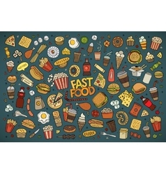 Fast food doodles hand drawn symbols vector image vector image
