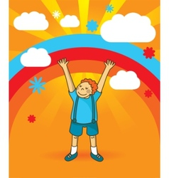 happy boy standing with hands up vector image