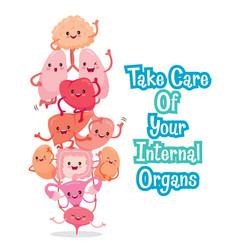 human internal organs cartoon characters funny vector image vector image