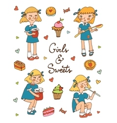 Little girls and sweets collection vector image vector image