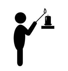Man Light Candle Flat Black Pictogram Icon vector image vector image