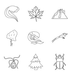 Native icons set outline style vector