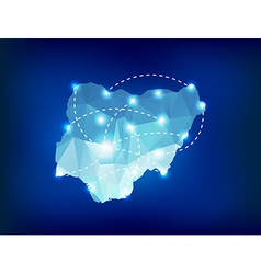 Nigeria country map polygonal with spot lights vector