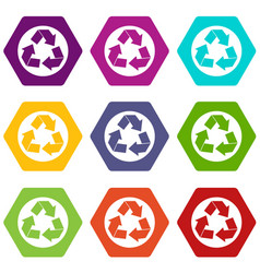 recycle sign icon set color hexahedron vector image