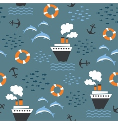 Seamless pattern on marine theme vector image