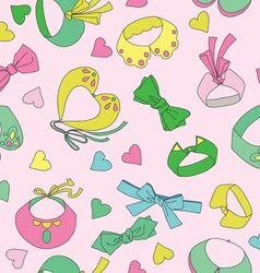 Seamless pattern with collars and hearts vector