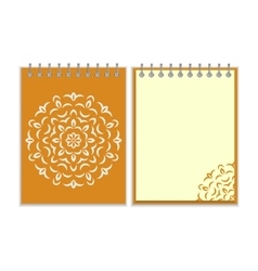 Spiral orange cover notebook with round ornate vector