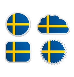 Sweden flag labels vector image vector image