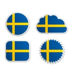 Sweden flag labels vector image