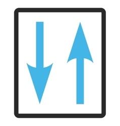 Vertical exchange arrows framed icon vector