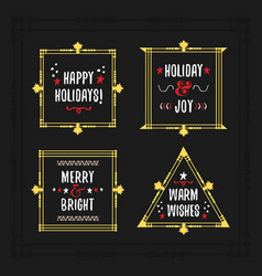 white and golden holiday emblem frames set vector image vector image