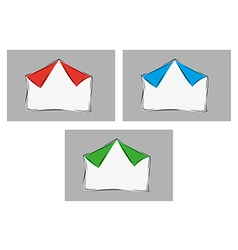 White blank paper with two bent corners with three vector