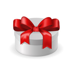 White box with red ribbon bow vector