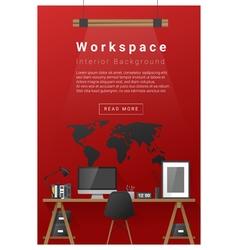 Interior design Modern workspace banner 5 vector image