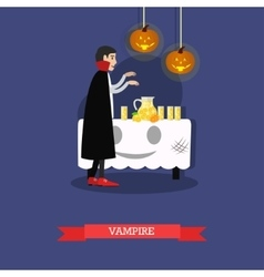 Vampire at halloween party happy holiday concept vector