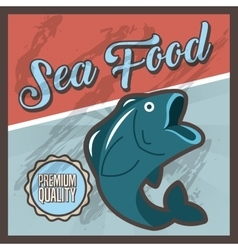 Delicious sea food fish restaurant vector