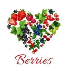 I love berries heart shape emblem vector