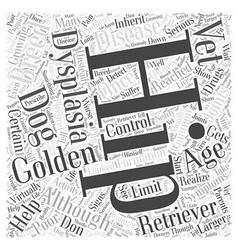Hip dysplasia and golden retrievers word cloud vector