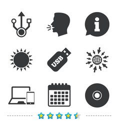 usb flash drive icons notebook or laptop pc vector image