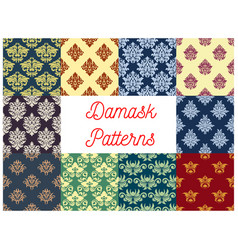 Damask seamless pattern set with floral ornament vector