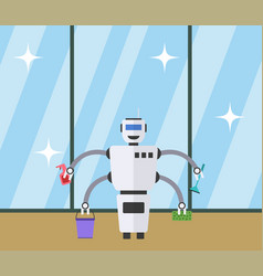 Robot cleaner at clean window background vector