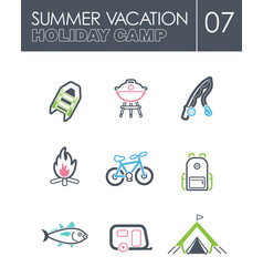 Summer camping icon set summer holiday vector