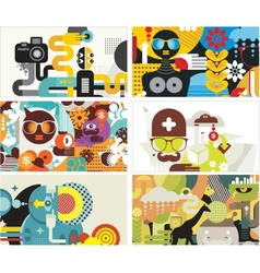 Six business card covers vector
