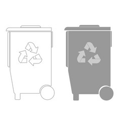 Refuse bin with arrows utilization the grey color vector