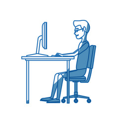 man character sitting working desk computer vector image