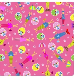 Easter bunny seamless pattern holiday background vector