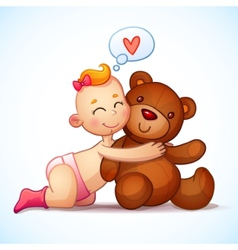 Baby girl redhead hugs teddy bear toy on a white vector