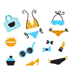 retro bikini icons vector image