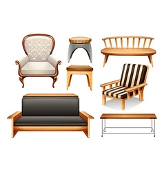 Assorted chairs on white vector