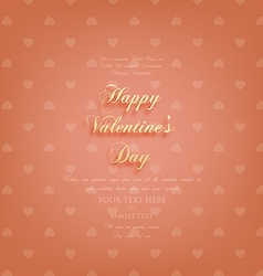 Valentines card with gold text vector