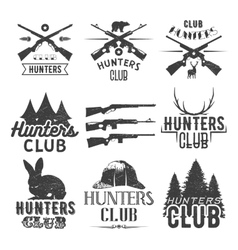 Set of hunting club labels in vintage style vector