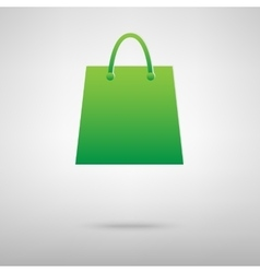 Shopping bag green icon vector