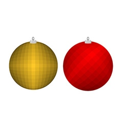 Christmas tree toy golden and red ball decoration vector