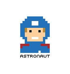 Pixel people astronaut theme avatar guy vector