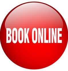 Book online red round gel isolated push button vector