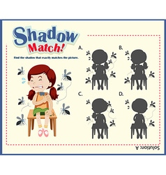 Shadow matching game template with girls and vector