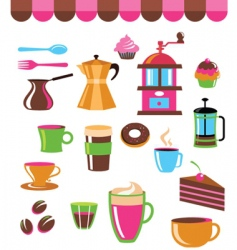 cafe elements vector image vector image