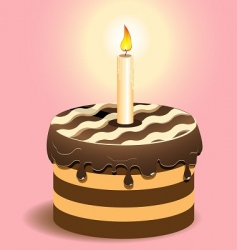 cake and candle vector image vector image