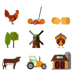 cartoon flat agriculture icon and sign vector image vector image
