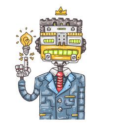 cartoon office robot vector image