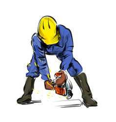 Color line sketch construction worker vector