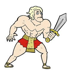 Comic cartoon fantasy hero man vector