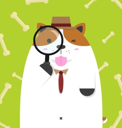 Cute big fat jack russell dog as detective vector