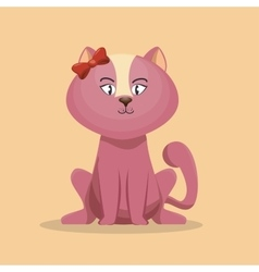 Cute character pink kitty with bow icon vector