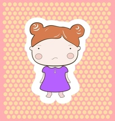 Cute red hair cartoon baby girl vector